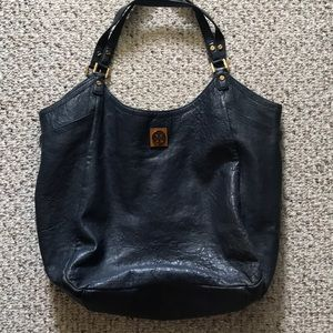 Tory Burch navy leather slouchy tote